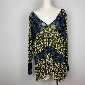 Free People Tunic Top Isabelle Floral Blue Yellow